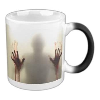 MHNS Morphing mugs the walking dead Coffee Tea Milk Hot Cold Heat Sensitive Color changing Black and White 11 Oz Ceramic Mug