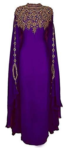 Purple Hand ZARI Embroidery Work Farasha Kaftan TAKSHITA VAR (S)