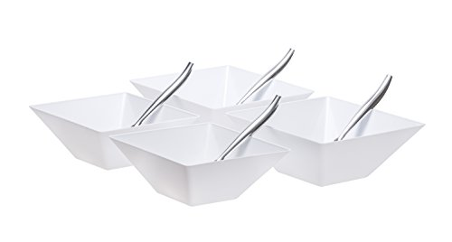 Set Of Four Square Plastic Serving Bowls With Serving Spoons