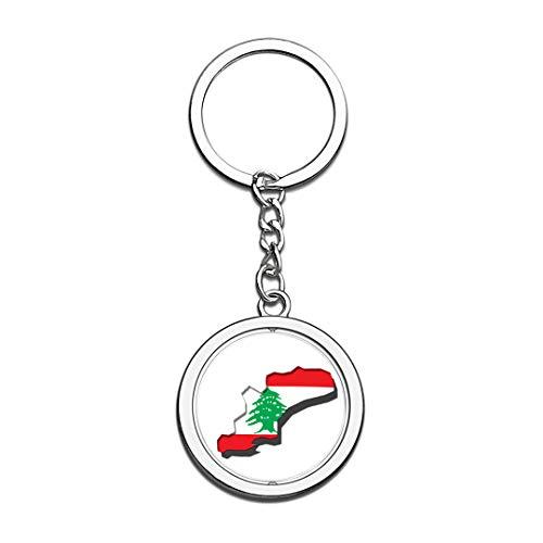 Lebanon Map National Flag Keychain 3D Crystal Creative