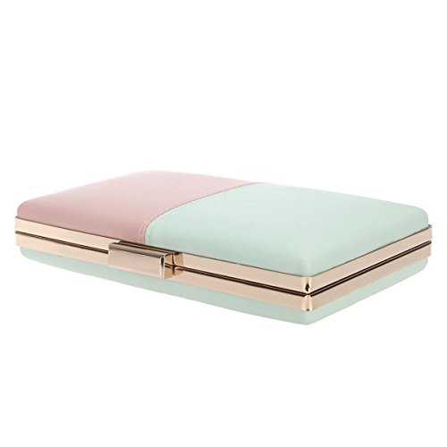 and Bonjanvye Clutch Prom Purses and Wedding for Handbags Women Pink Stitching Party Green xaarwOE