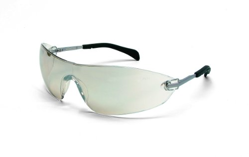 Crews S2219 Blackjack Elite Safety Glasses with Chrome Metal Temple and Indoor/Outdoor Clear Lens