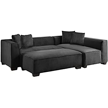 Homelegance Reversible L-Shaped Sectional with Oversized Ottoman & Four  Toss Pillows, Blue Gray Fabric