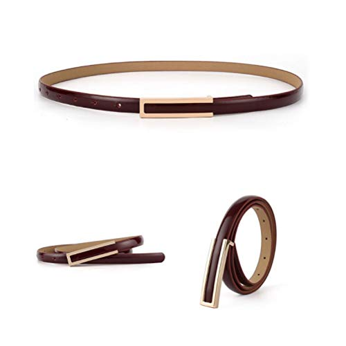 【CaserBay】Women's Fashion Elegant Skinny Patent Leather Belts Waistband Thin Waist Belt With Gold Color Alloy Buckle【Burgundy】