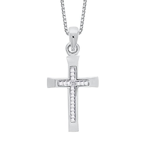 KATARINA Baguette and Princess Cut Diamond Cross Pendant Necklace in 10K White Gold (1/6 cttw, K-L, ()