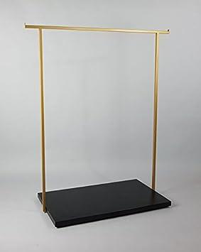 MiArredo Stender Appendiabiti Struttura in Ferro Verniciato Color Oro e Base in Legno melaminico Colore Nero Opaco