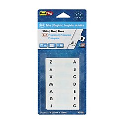 Alphabet Index Dividers - Redi-Tag Pre-Printed Index Tabs, A to Z, Permanent Adhesive, 7/16 x 1 Inches, 104 Tabs per Pack, White with Black Print (31005)