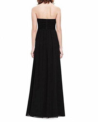 Kleid Schwarz Ausschnitt Brustumfang der Lang Runder Leader Party Gerüscht Schönheit Damen Schwarz qwzPtf1
