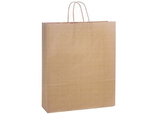Pack Of 200, Queen 16 X 6 X 19'' 100% Recycled Brown Kraft Paper Bags Solid Made In USA