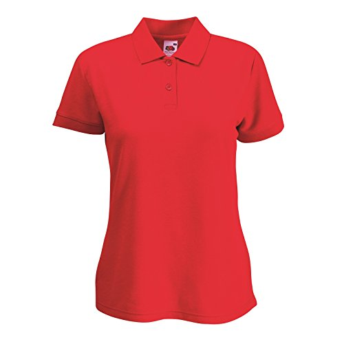 Fruit of the Loom Lady-Fit 65/35–Polo de manga corta para mujer rosso - rosso