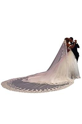 CLOCOLOR Women's Applique Lace Cathedral Long Bridal Veils for Wedding
