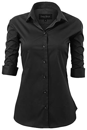 - Harrms Shirts for Women Slim Fit Stretchy Cotton Black Button Down Shirts Size 16