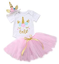 Baby Girls 1st Birthday Tutu Dress Outfit Short Sleeve Unicorn Romper+Lace Skirt+Headband 3Pcs Clothes
