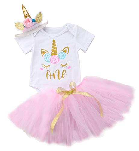 Baby Girls 1st Birthday Tutu Dress Outfit Short Sleeve Unicorn Romper+Lace Skirt+Headband 3Pcs Clothes (6-12 Months) Pink