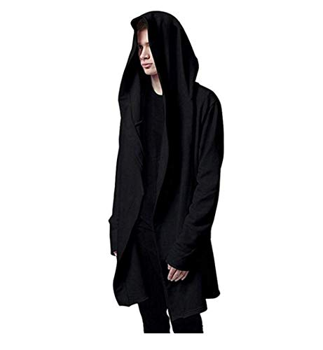 - WEIYI H220 Casual Long Hooded Cloak Cape Black Cardigan Jacket Oversize Coat