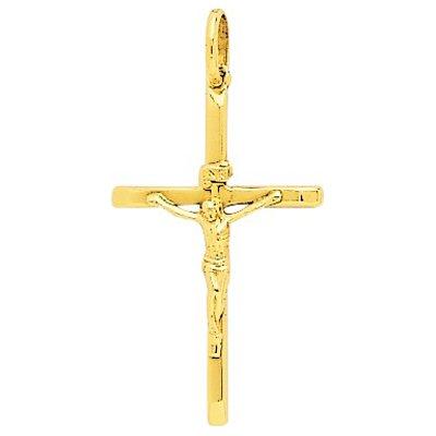 So Chic Bijoux © Pendentif Bicolore Croix Christ Jésus Crucifix Creux Or Jaune 750/000 (18 carats)