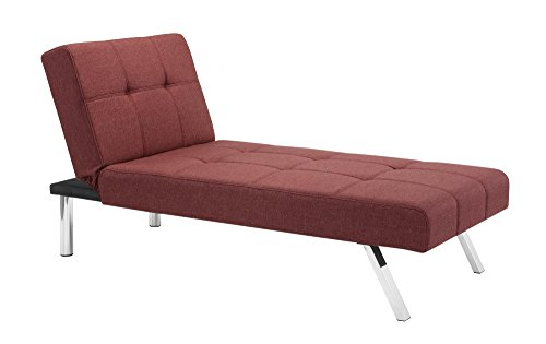 Novogratz Simon Chaise with Chrome Slanted Legs, Mid-Century Modern Design, Converts to Sleeper, Rich Marsala Linen
