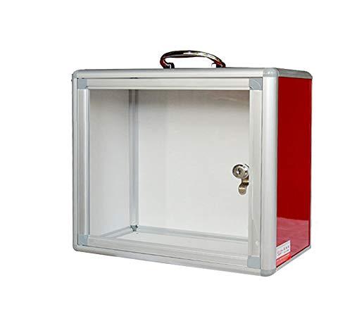 Portable Donation Box,Aluminum Suggestion Box, Donation Box Mail Box,Comment Box,Red, Office Multi Purpose Collection Box - Ballot Box Key Drop Box