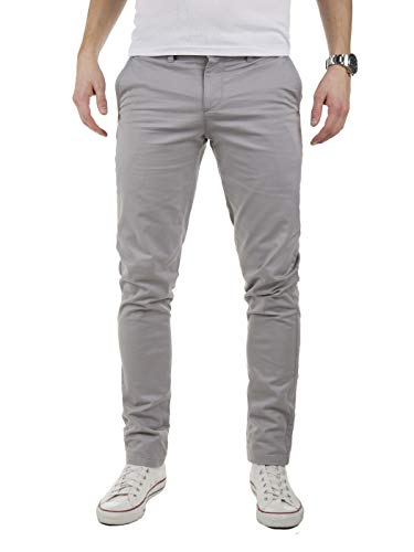 Yazubi Men's Chino Pants Kyle Slim-Tapered Casual Pants, Grey Gull (4R173802), W36/L32