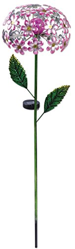 Sunset Vista Designs 92654 Pink Hydrangea Garden Stake, Solar Powered Light (Feeder Hummingbird Crackle)