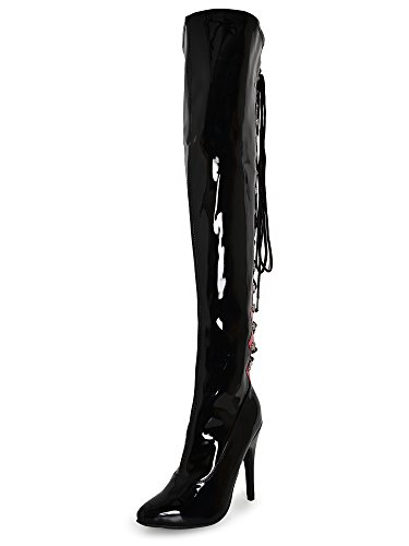 Honour Worship Thigh Boots Black and Red 6 Red UK-6|EU-39|US-8 WuBVA