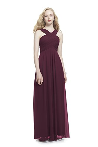 - Samantha Paige Criss-Cross Strap Pleated Chiffon Formal Dress, Wine, 8