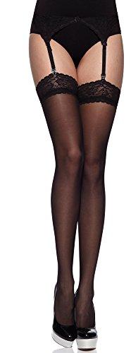 Merry Style Mujer Set Medias Transparentess con Cinturón MS 220 15 DEN Negro