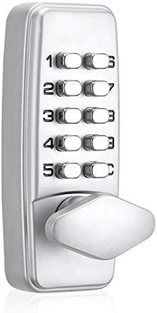380Bデジタルパスワードドアロックメカニカルコードキーレスエントリードアロック防水世代パスワード電子ロック-シルバー