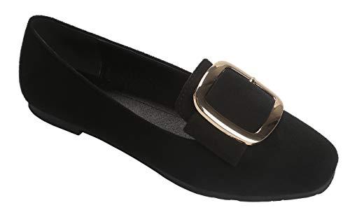 - Modenpeak Women's Faux Suede Ballet Flat Light Comfort Round Toe Low Heel Loafers Shoes Black-8