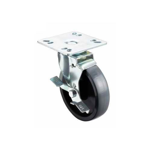 4'' Universal Plate Caster, 5'' Wheel with Brake (4 pieces) by Krowne Metal