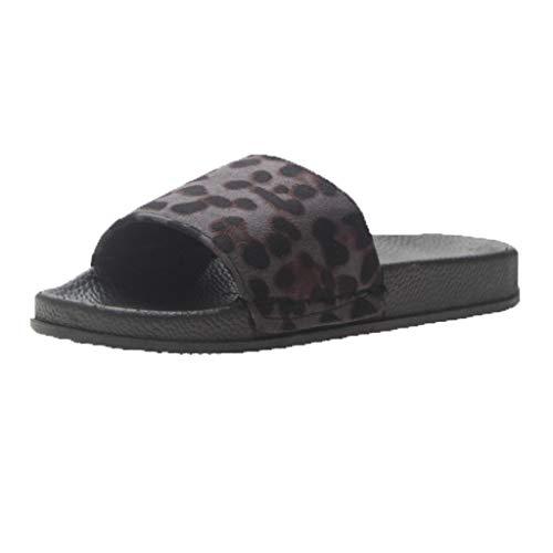 Cewtolkar Women Shoes Leopard Slippers Outdoor Flip Flops Peep Toe Sandals Loafers Shoes Soft Slippers Beach Flip Flops Black by Cewtolkar (Image #1)