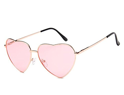 Flowertree Women's S014 Heart Aviator 55mm Sunglasses (light pink, 0) -