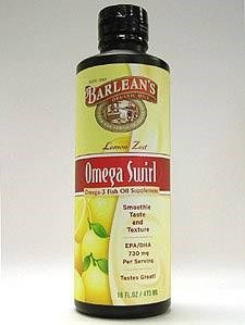 Barlean's Omega Swirl. Fish Oil Lemon Zest. 16 Fl. Oz. (6 Pack)