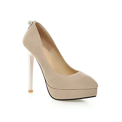 Balamasa Mujeres Platform Stiletto Glass Diamond Imitated Suede Pumps-Zapatos Beige