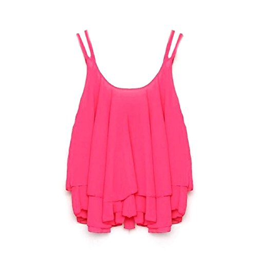 Vovotrade(TM)Women Bilayer Sleeveless Shirt Chiffon Loose Vest Tank Tops (L, Hot Pink)