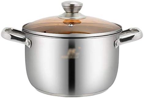 S-TING 鍋 ヘビー16ステンレスポットキャセロールガラス蓋とディッシュと鏡面研磨仕上げ、スープポットは、バイノーラルステンレス鋼をstewpan(サイズ:23.5 * 19.5センチメートル)(サイズ:25.5 * 22センチメートル) 不沾鍋 鍋子 萬用鍋 炒め鍋 フライパン
