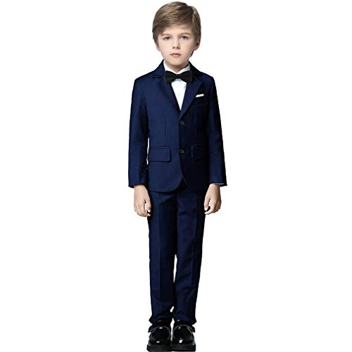 Fersumm Boy's 5 Piece Suits Slim Fit Dress Suit Set Complete Outfit