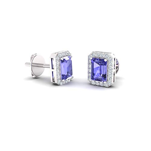 Diamondere Natural and Certified Tanzanite and Diamond Petite Stud Earrings in 14K White Gold | 0.67 Carat Halo Earrings for Women