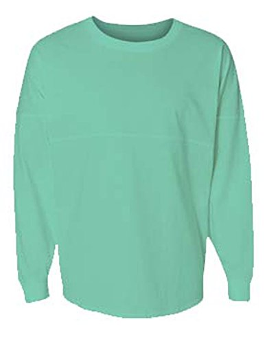 J. America Women's Ladies Game Day Jersey Long Sleeve t-Shirt, Mint Green, XX-Large