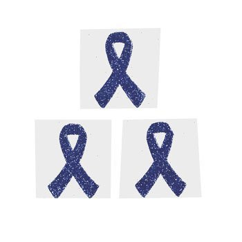 12 Blue Awareness Ribbon Tattoo Stickers ()