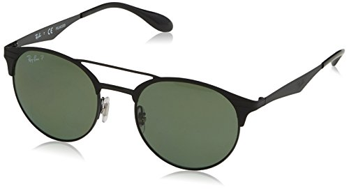 Ray-Ban Metal Unisex Polarized Round Sunglasses, Shiny Black/Top Matte Black, 51 mm