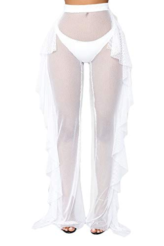 - wsevypo Women Sexy See Through Sheer Mesh Ruffle Pants Perspective Swimsuit Bikini Bottom Cover up Party Clubwear Pants