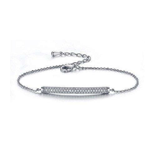 Bella Lotus SHINCO 18k Gold Plated Bar CZ Diamond Adjustable Charm Bracelet Fashion Jewelry Gifts for Graduation, 2 Colors