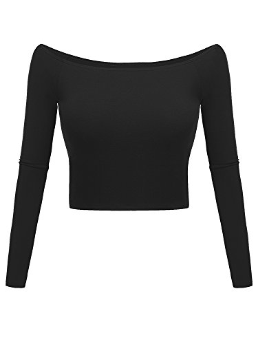 Luckco Women's Basic Long Sleeve Slim Fit Off Shoulder Cami Crop Top X-Large Black