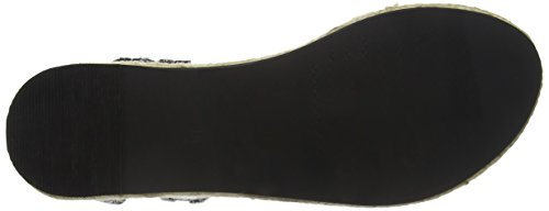TANTRA Leather Espadrille Wedge Sandals with Metallic Details, Sandali Donna nero