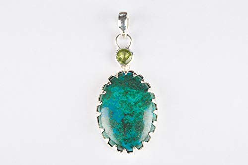 Chrysocolla & Peridot Pendant 925 Sterling Silver Natural Copper Vintage Birthstone Delicate Gemstone Jewelry Oval Shape Stone Wedding Gift Victorian Occasional Jewelry