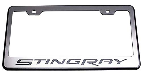American Car Craft 052082 Rear Tag Frame Stingray Powder Coat Black W//Brushed Stainless Steel Stingray Lettering