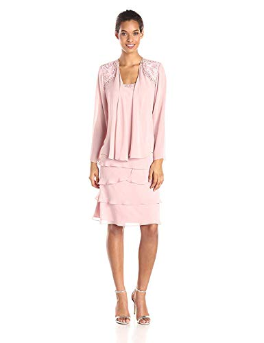 (S.L. Fashions Women's Embellished Tiered Jacket Dress (Petite and Regular), Faded Rose, 14P)
