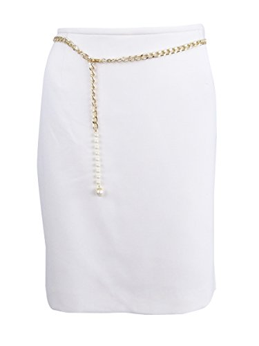 Tahari by ASL Chain-Belt Career Petite Pencil Skirt White Ivory 12P