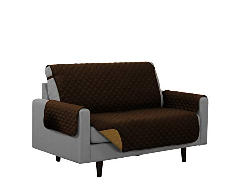 - Linen Store Quilted Reversible Microfiber Pet Dog Couch Furniture Protector Cover Loveseat (Coffee / Tan)
